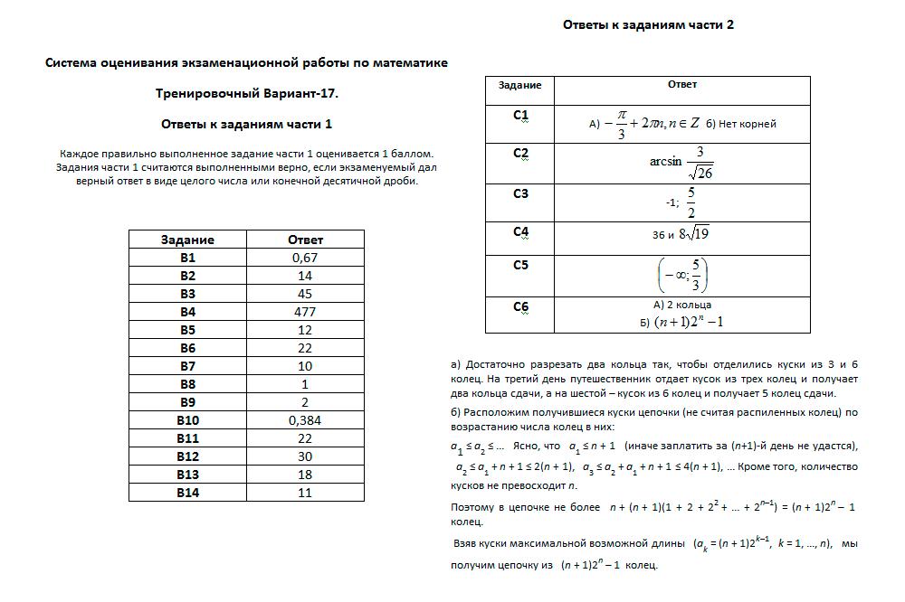 Тренировочный вариант №17 по математике от Александра Ларина