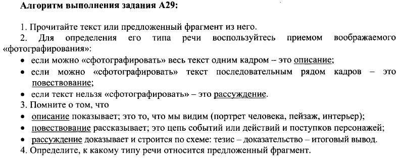 Задание 21 (A29). Функционально-смысловые типы речи