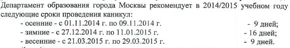 Планируемый годовой календарный график на 2014-2015 учебный год