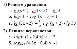 Самостоятельная работа по логарифмам