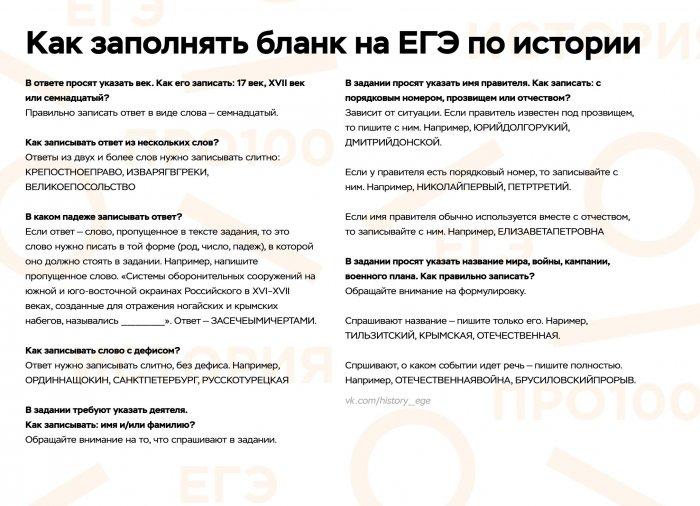 Правила заполнения бланков на ЕГЭ по истории