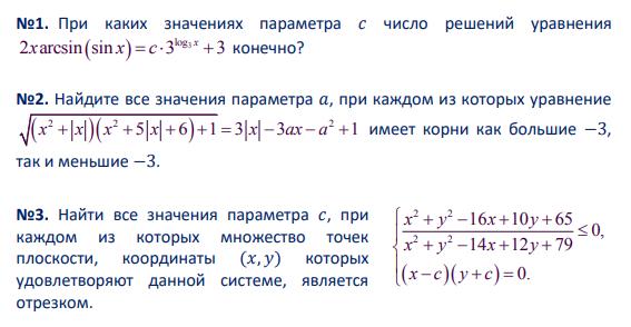 Задачи с параметром из вступительных экзаменов в МГУ