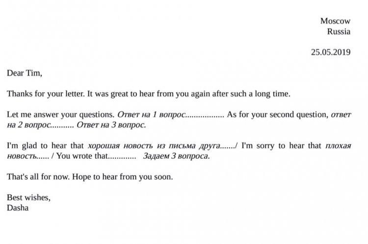 Письмо другу. Задание 39 ЕГЭ по английскому языку
